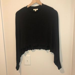 SEE YOU MONDAY Black Long Sleeve Cropped Blouse